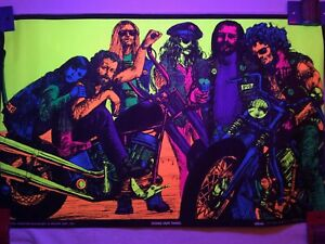 1969 Orig. Black-Light Poster 'DOING OUR THING' Motorcycle Gang 'HEAD SHOP' NOS!