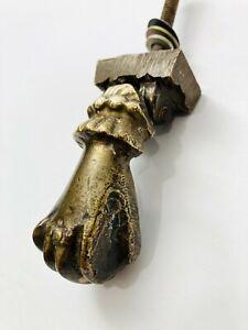Brass Victorian Era DOOR KNOCKER Ladies Woman Hand w Ball HEAVY SOLID BRASS OLD