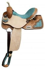 "14"" Double T barrel style saddle with TEAL filigree print seat! NEW HORSE TACK"