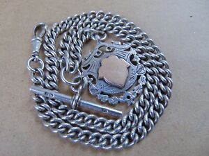 CHESTER ANTIQUE STERLING SILVER ALBERT POCKET WATCH CHAIN & GOLD FOB 1912