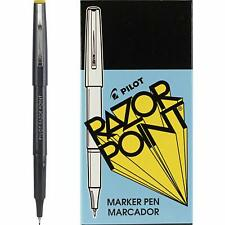 Pilot Razor Point Marker Stick Pens, Ultra Fine Point, Black Ink, Dozen Box (110