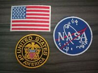 NASA Flag of america United Iron on Patch Embroidered Sew on Jean Jacket bag hat