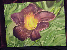 "Fine Art Oil Painting,Floral, ""Daylily  "", 24"" X 32"", on panel"