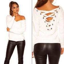 Sexy Shirt Pulli Pullover V-Cut Strickpulli mit XL Schnürung Weiß 34 36 38