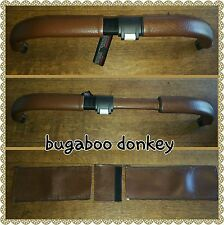 Bugaboo donkey twin BROWN faux leather zip on handle bar covers