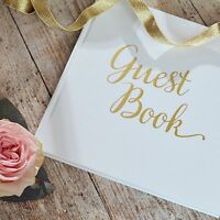 Wedding Guest Book, Birthday, Christening, Party - Guestbook White & Gold