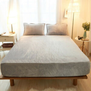 Non-slip Soft Floral Fitted Sheet Cover Twin Queen King Size Mattress Covers NEW