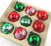 Set of 9 Vintage Christmas Ornaments Red and Green Shabby Chic in Box Glitter
