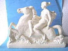 Sarreguemines Große Plastik Weibliche Figur auf Pferd Form 5436