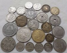 SUPERB LOT SILVER COINS > 24 OLD FRANCE 1921 GREECE BELGIUM UK AFRICA SPAIN P3