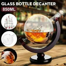 850ml Globe World Glass Crystal Whiskey Decanter Liquor Spirits Wine Bottle Gift