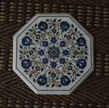 """13"""" White Marble Coffee Table Top Lapis Inlaid Mother of Pearl Pietradure Gifts"""