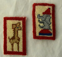 Vtg Dollhouse Miniature Artisan Needlepoint Play Room Animal Art Elephant Girafe