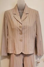 Kim Rogers Women's Pant Suit ~Beige Pin Stripe~Jacket 8P Pants 10P~New with Tags
