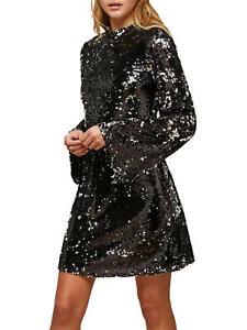 Miss Selfridge Ombre All Over Sequin High Neck Flute Sleeve Dress, Black