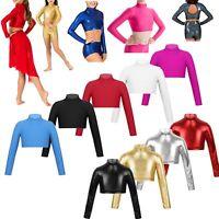 Girls Kids High Neck Lycra Dance Gym Crop Tops Sports Metallic Long Sleeve Shirt