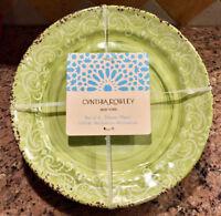 Green Rustic Medallion Melamine Dinner Plates Set/4 by Cynthia Rowley New York