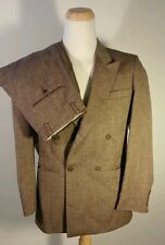 Vtg Raffinati 2 piece Double Breasted Brown Speckle Wool Suit Medium Rockabilly