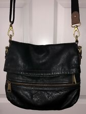 Fossil Black Leather Messanger Crossbody Fold Over Hand Bag Explorer Tote EUC!