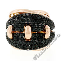 Large 18K Rose Gold 2.62ctw Black Diamond Cluster Wide Intricate Cocktail Ring
