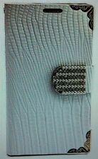 Luxus Strass Handy Tasche Schutz Hülle für Apple iPhone 4 4G 4S Weiss Book-Style