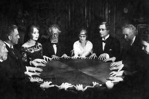 Creepy Vintage Seance PHOTO Scary Strange Spooky Dead Spirits Ghosts Group Talk