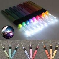 9Sizes LED Crochet Hooks Sewing Tools Craft Set Light up Knitting Needles Weave,