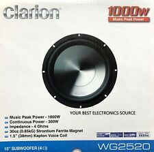 """NEW CLARION WG2520 10"""" WG Series Single Voice Coil, 4 Ohm Subwoofer"""