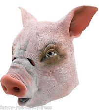 Mens Ladies Pig Rubber Face Mask Animal Halloween Fancy Dress Costume Outfit