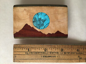 Kenneth Reid (Signed) NM Mountains & Turquoise Moon - Wood & Brass Belt Buckle