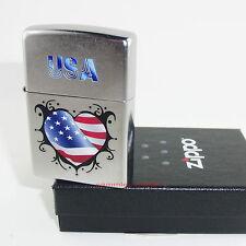 ZIPPO Feuerzeug USA FLAG HEART Street Chrome US Flagge Herz NEU OVP Sammlerstück