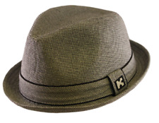 Gray Stingy Snap Brim Fedora Hat Stylish Micro-Houndstooth Pattern Mens Headwear