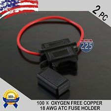 2 PACK 18 GAUGE ATC IN-LINE FUSE HOLDER 100% OFC COPPER WIRE CABLE WATERPROOF US
