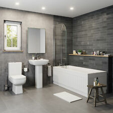 Modern Bathroom Suite Toilet Basin Sink Full Pedestal Single Ended 1700mm Bath