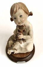 Capodimonte Giuseppe Armani Porcelain Girl Holding Dachshund Signed