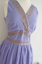 EAST cotton SUMMER DRESS party WEDDING SEQUINS gold BOHO INDIAN MONSOON uk 16 BN