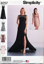 SIMPLICITY SEWING PATTERN 8257 MISSES SZ 6-14 DRESS & MAXI EVENING GOWN W/ TRAIN