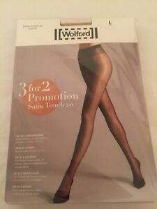Wolford Satin Touch 20 Tights  3 for 2 promotion pack Large Cosmetic perfect con