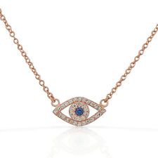 Sterling Silver Rose Gold-Tone Evil Eye White Blue Crystals CZ Pendant Necklace