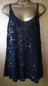 Black embroidered waist length vest top size 18 with full front sequined detail.