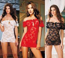 New-Women-Sexy-Lingerie-Lace-Dress-Underwear-Black-Babydoll-Sleepwear-G-string-!