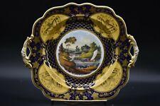 Ridgway English Cake Plate Cobalt Blue & Gold Butterflies & River Sailboat(1045)