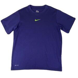 Nike Dri Fit Boys Shirt Medium Purple Green Swoosh Short Sleeve Athletic Stretch