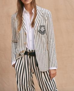 Polo Ralph Lauren Women Cream Striped Crest Patch Blazer Size 8 NWT 199.99$+TAX