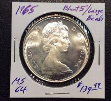 1965 Canada Silver Dollar Blunt 5/Large Beads BU++