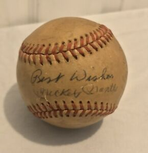 Authentic 1950's Mickey Mantle Hand Signed Autographed Baseball Best Wishes