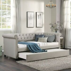 Linen Fabric Upholstered Daybed with Trundle, Classic Style Sofa Bed, Twin Size