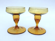 Tiffin Glass, Mid-Century Modern candle holders, Persimmon c.1965