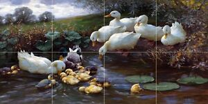 Family of Ducks at the Water Tile  Mural Kitchen Wall Backsplash Marble Ceramic