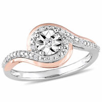 Amour 1/10 CT TW Diamond Promise Ring in 2-Tone 10k White & Rose Gold